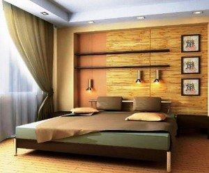 интерьер спальни с использованием бамбука