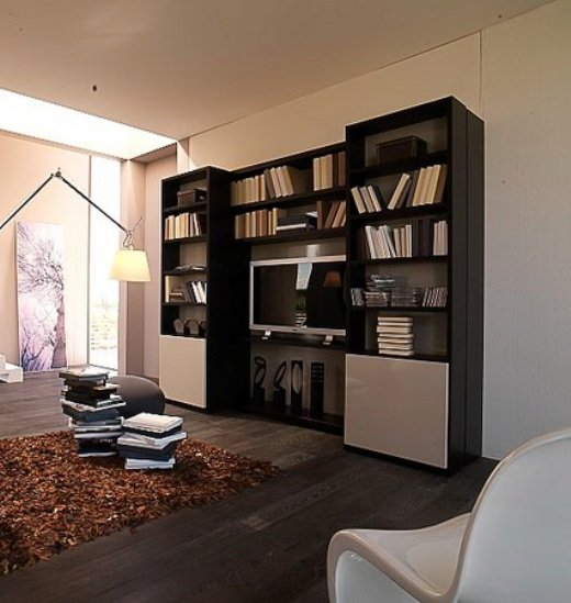 Стеллажные стенки в интерьере