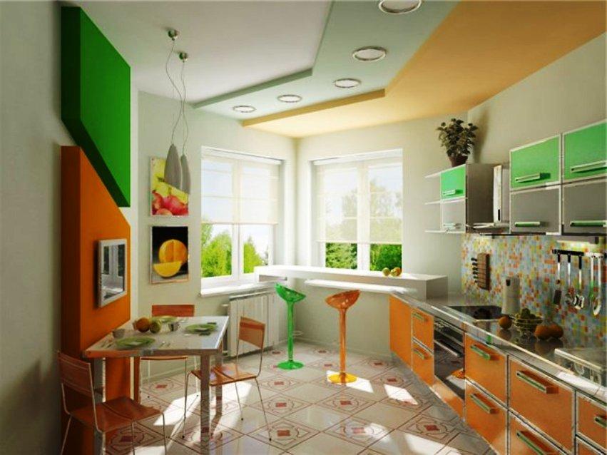интерьер кухни в квартире с эркером