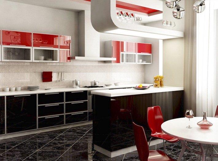 темный цвет пола на кухне
