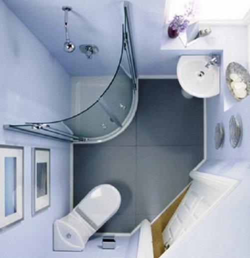 душевая кабина в квадратной ванной комнате