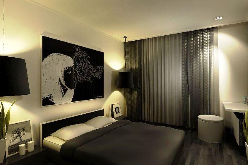 акцентная стена в комнате с темными полами