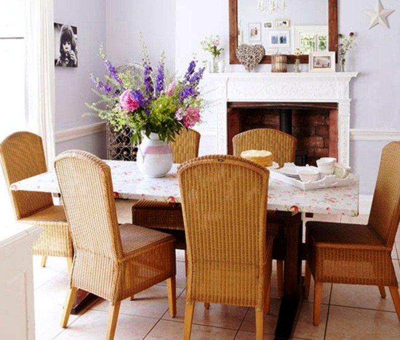 плетеная мебель в столовой