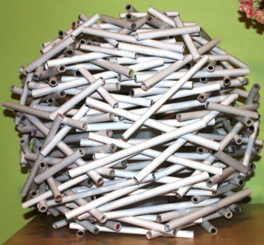 форма абажура из бумажных трубочкек