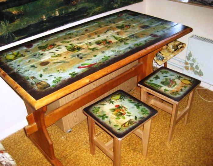 техника декупаж при декорировании мебели