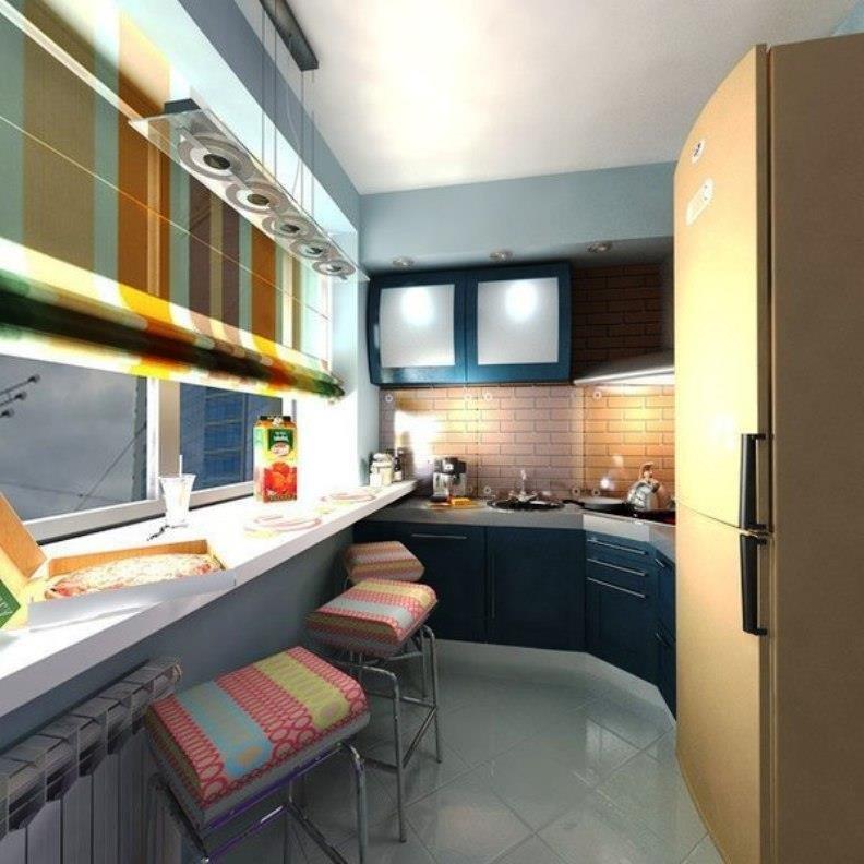 Decormy.ru. дизайн кухни совмещенной с балконом и 55 стильны.