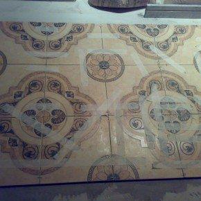 3 ряда напольной плитки