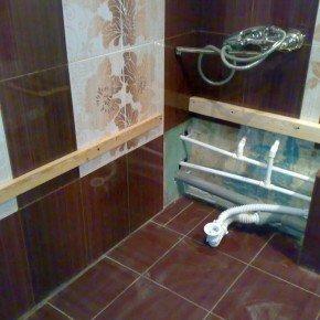 установка бруса для ванны