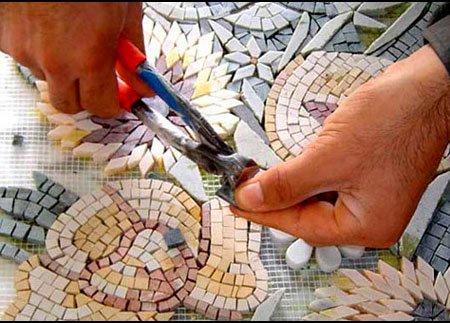 обработка мозаики кусачками