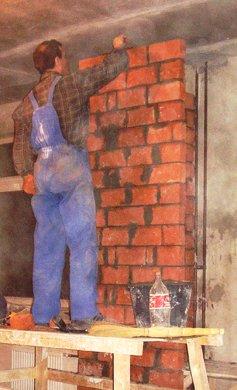 стены санузла из кирпича