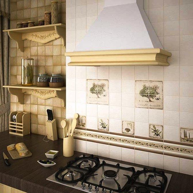 отделка кухни глазурованным кирпичом