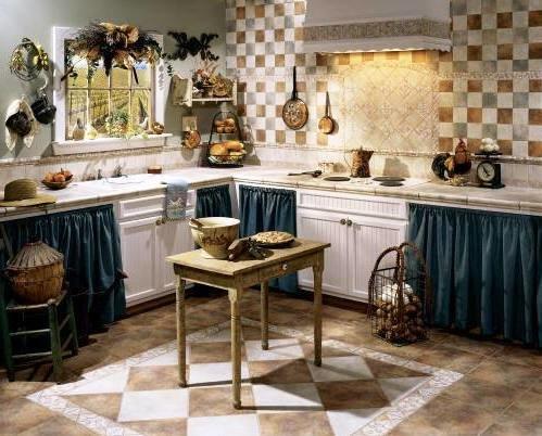 занавески вместо фасадов на кухне