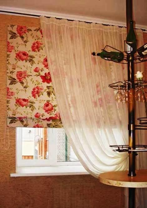 комбинированные шторы для кухни