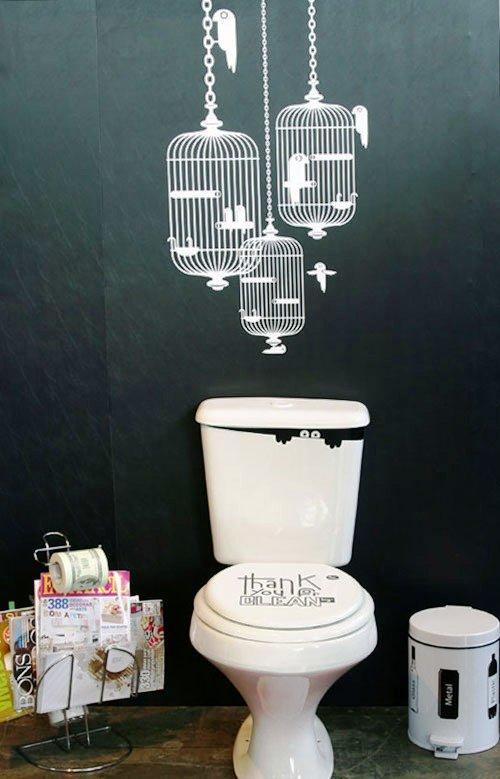 стикеры в дизайне туалета