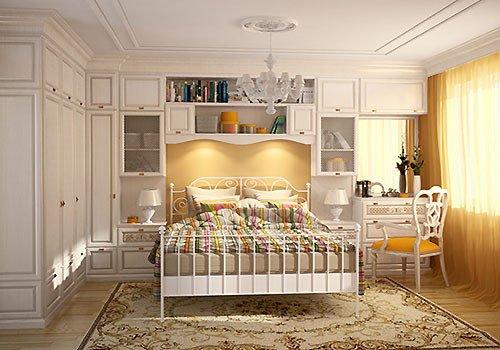 Кровать-гарнитур в спальне