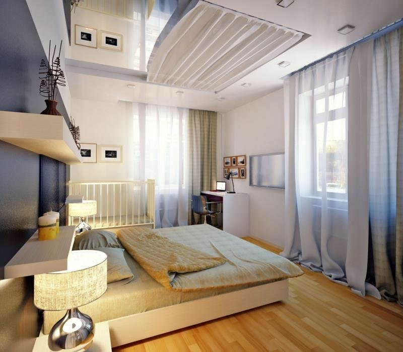 Идеи для спальни 2015 - потолочная шторка для зеркала