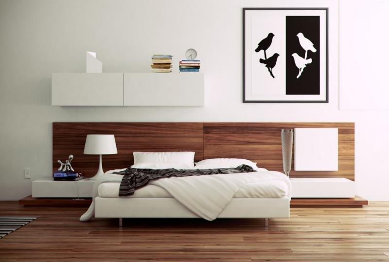 Черно-белый принт в современной спальне