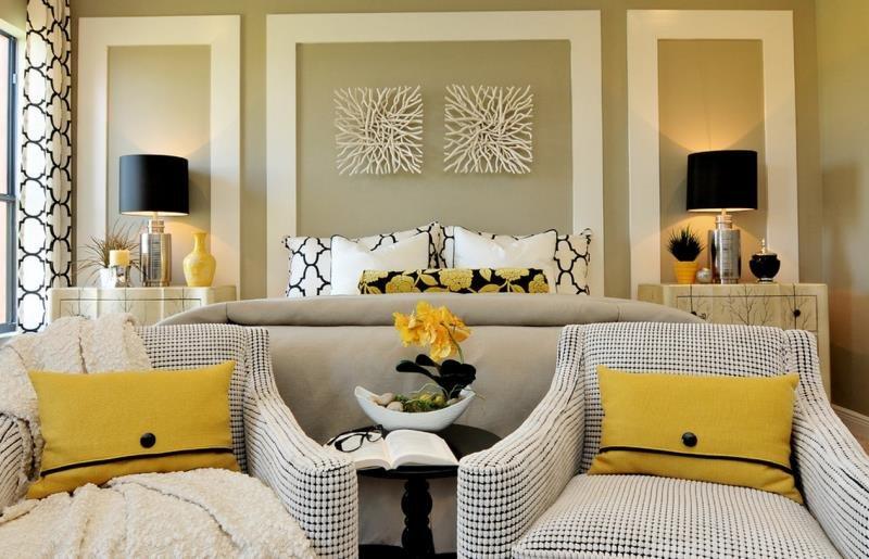 Легкозаменяемые цветовые пятна в дизайне современной спальни