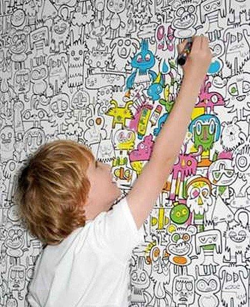 обои-раскраски для детской