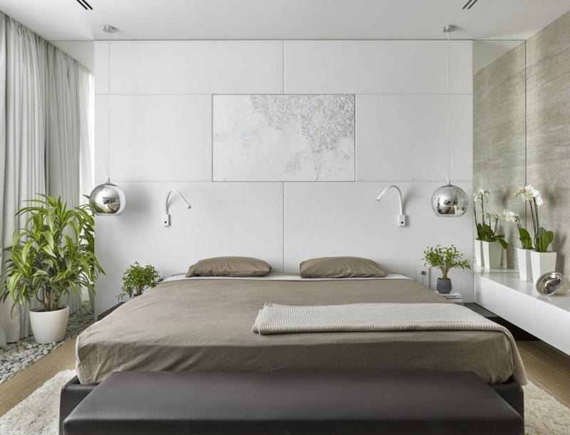 Настенное и потолочное освещение современной спальни