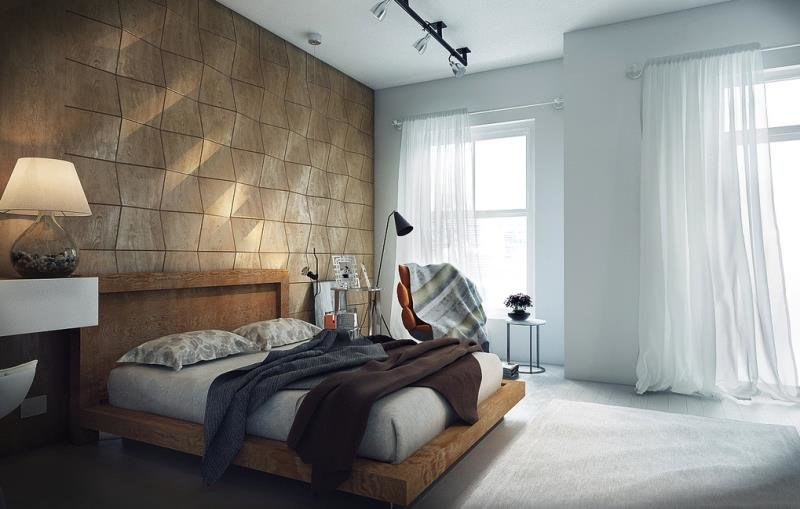 Деревянная стена изголовья в спальне (Вьетнам)