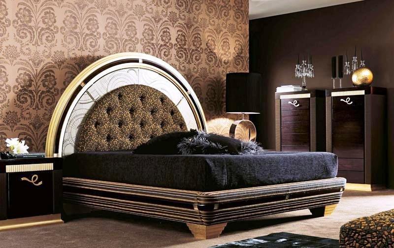 кровать - главное украшение спальни в стиле арт-деко