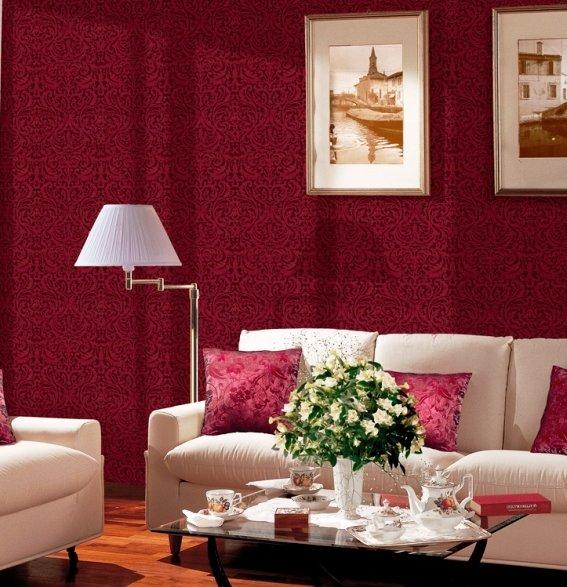 текстильные обои в гостиной