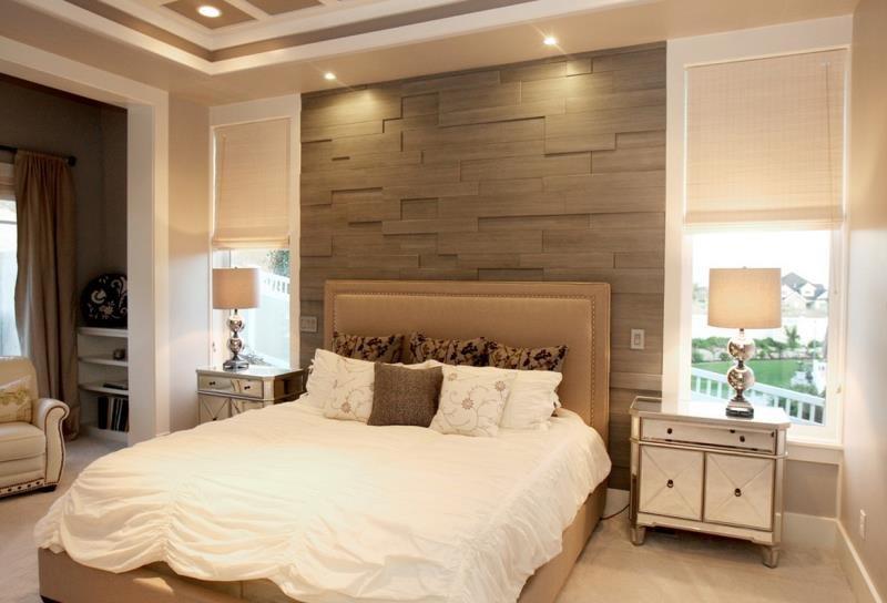 Фактурная композиция стены у изголовья в спальне