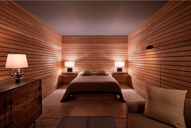 """Современная спальня в """"деревянном ящике"""""""