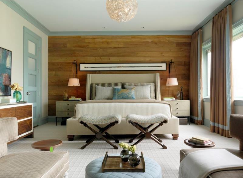 Примитивная деревянная стена в стильной современной спальне