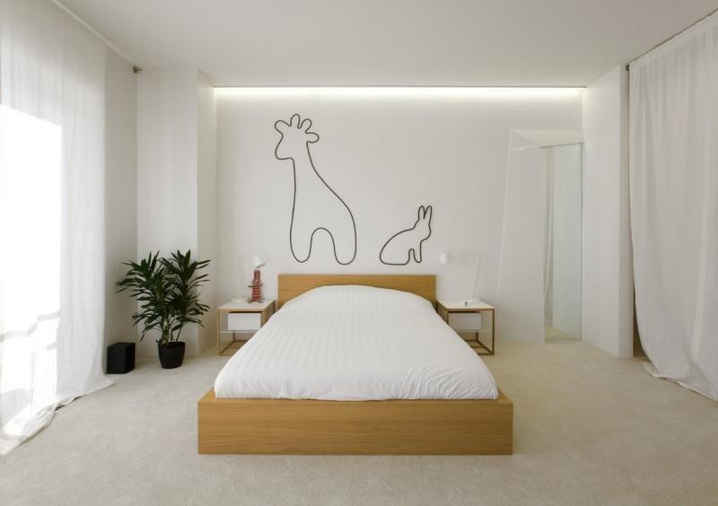 Дизайнерская идея в оформлении стен спальни