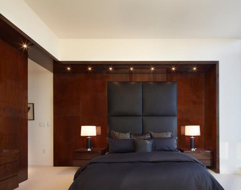Современная спальня - акцент на дерево (США Нью-Йорк)