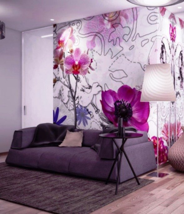 сиреневый цвет в интерьере квартиры