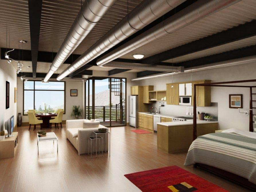 единое пространство помещения в стиле лофт