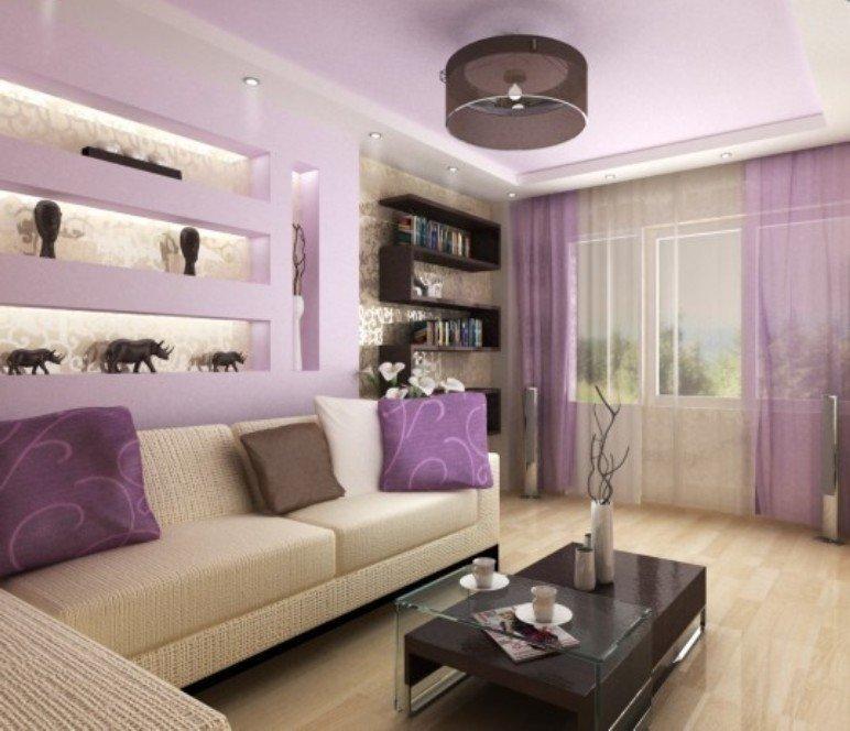 сиреневый цвет в интерьере гостинной