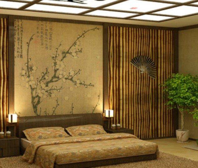 оформление стен в японском стиле