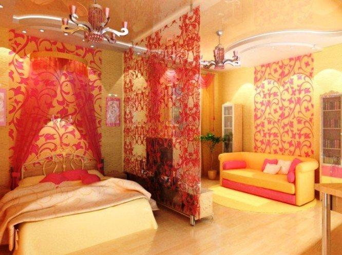 разделение гостиной и спальни визуально
