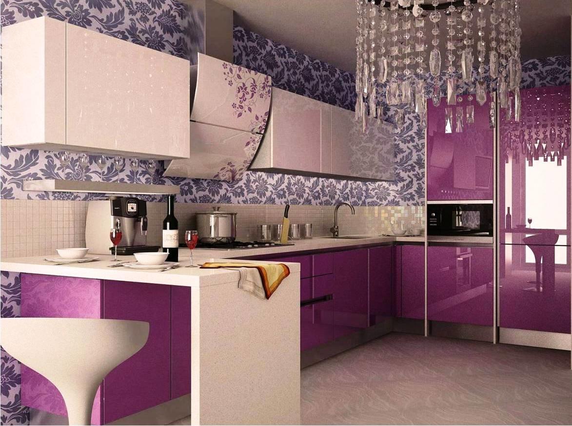 кухни сиреневого цвета фото: