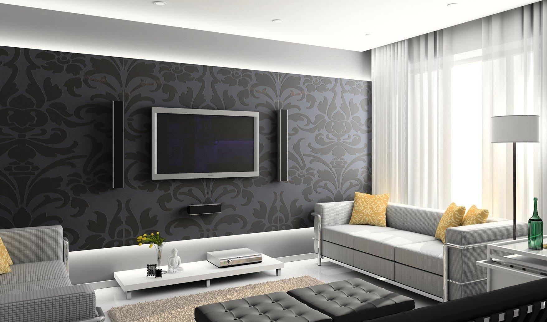 Дизайн обоев зала в квартире фото