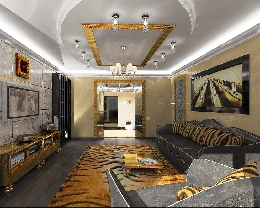 гипсокартонные потолки в гостиной