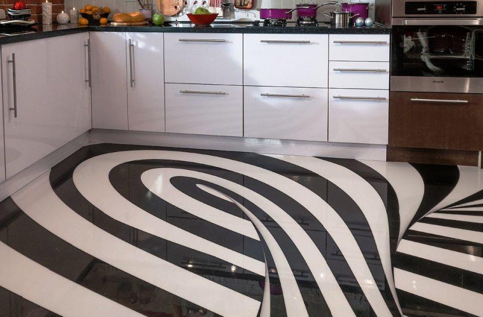 интерьер кухни с наливными полами