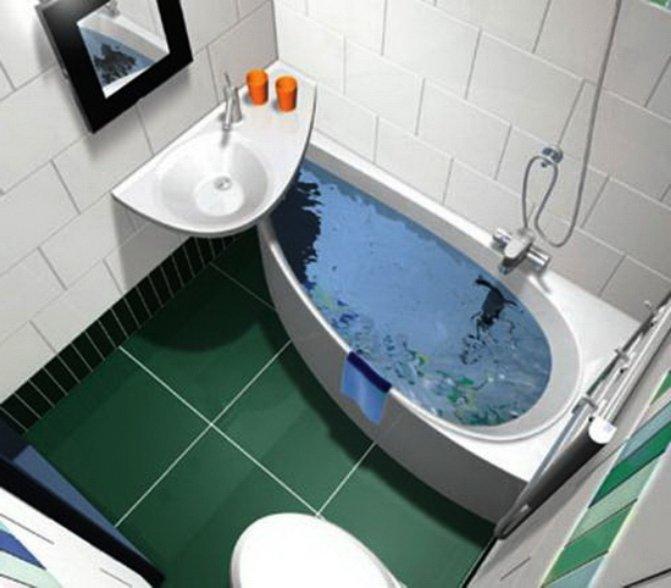 угловая ванна для экономии пространства