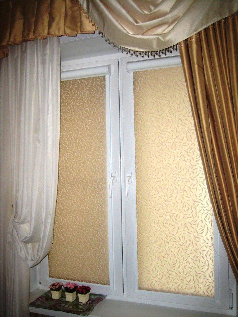 комбинация различных видов штор