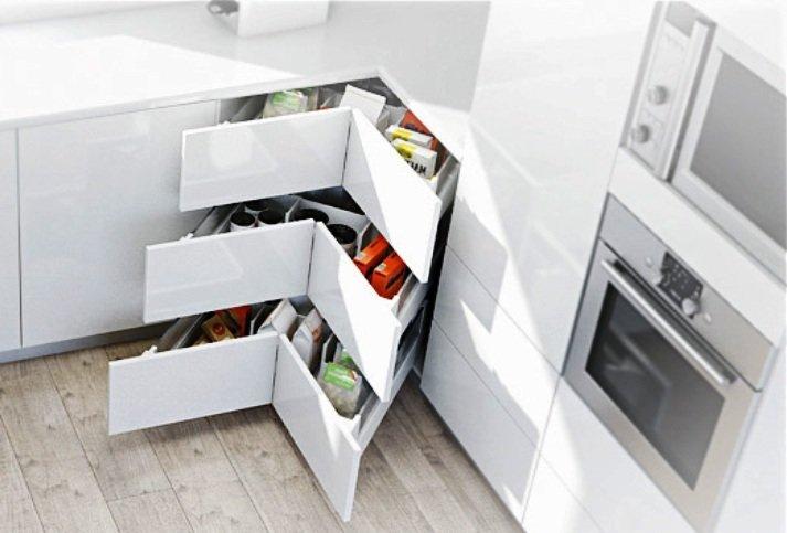 выдвижные системы для угловой кухни