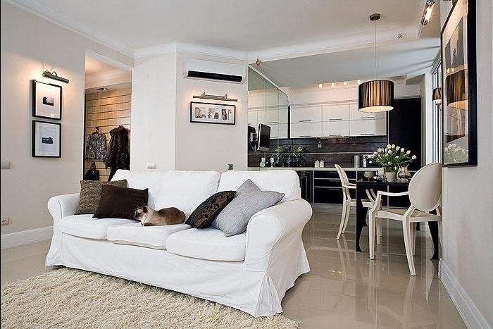 деталь мебели образует искусственную ширму в гостиной