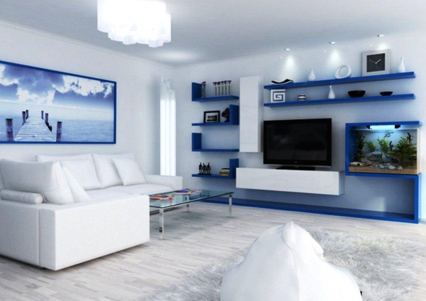 """чем """"разбавить"""" синий цвет в оформлении гостиной"""