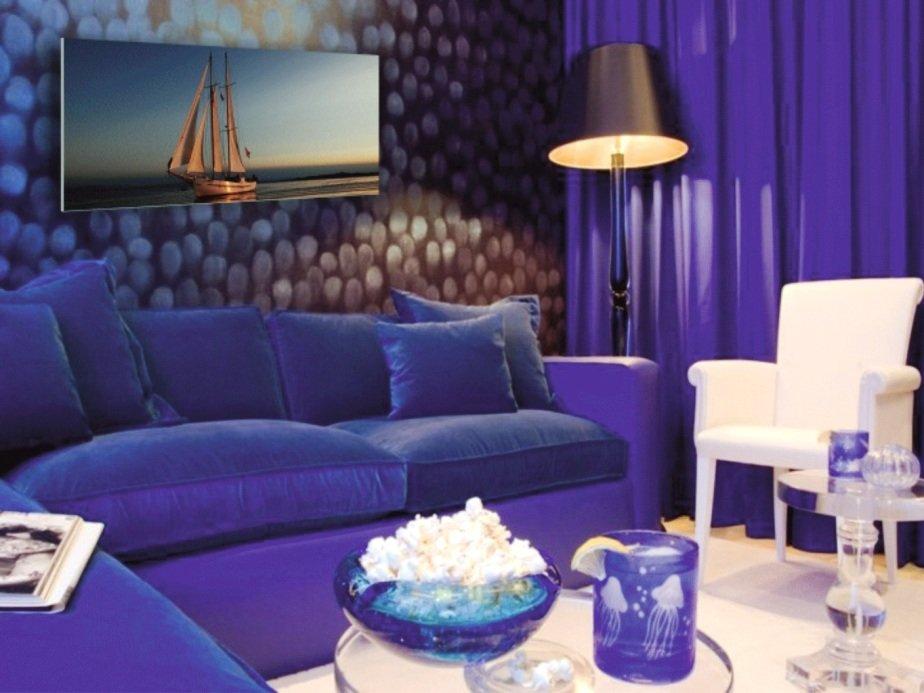 оттенки синего цвета в оформлении гостиной