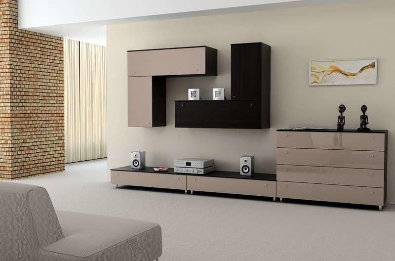 современный дизайн стенки для гостиной
