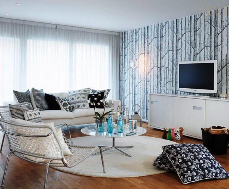 мебель белого цвета в оформлении гостиной