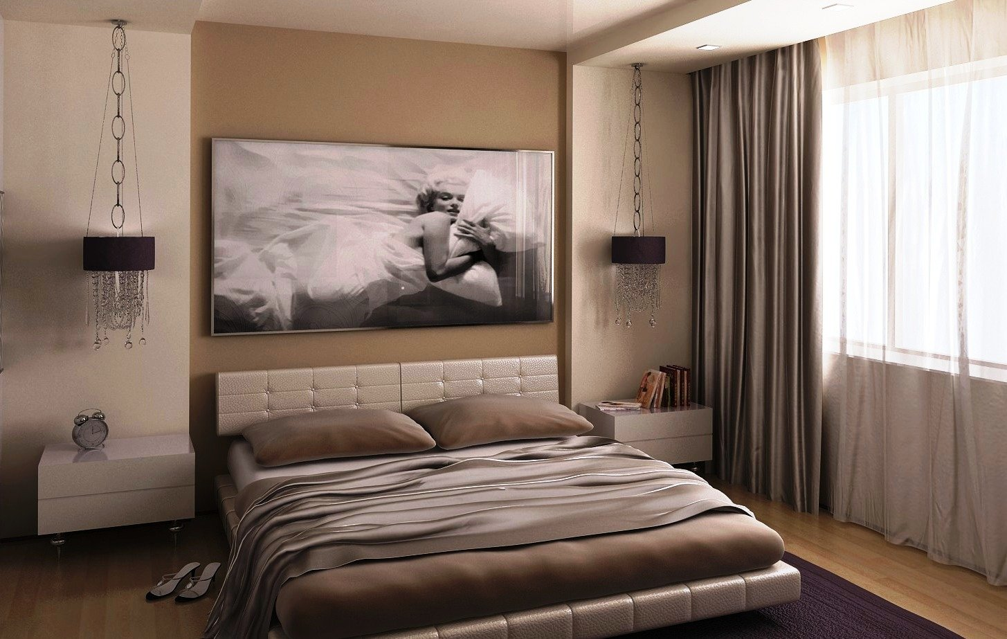 сочетание белого цвета мебели с нейтральными оттенками
